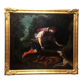 "1876 Neoclassical Oil Painting, ""Narcissus at the Fountain"" by Bianchini, After Francesco Curradi For Sale"