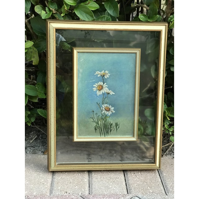 """Glass Mid-Century Original """"Summer Daisies"""" Painting Mounted in a Double Glass Frame For Sale - Image 7 of 7"""