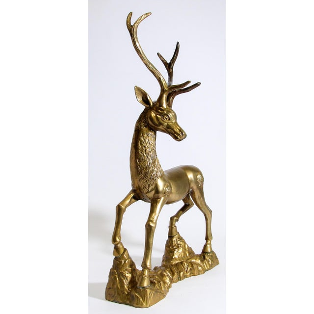 Gorgeous and substantial, striking tall iconic 1960s Hollywood Regency vintage Sarreid style cast brass standing deer...