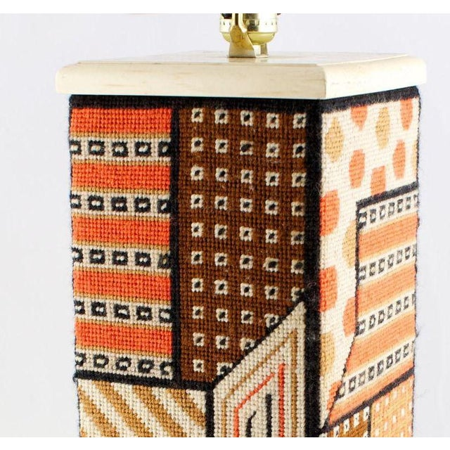 Geometric Needlepoint Table Lamp For Sale - Image 4 of 4