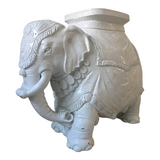White Wood Elephant Side Table For Sale