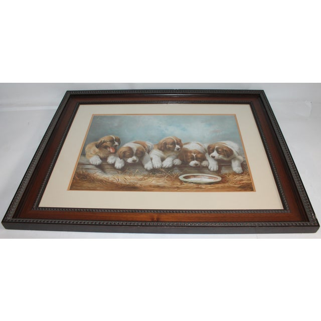 Blue Puppies in the Hay Framed, 19th Century Print For Sale - Image 8 of 8