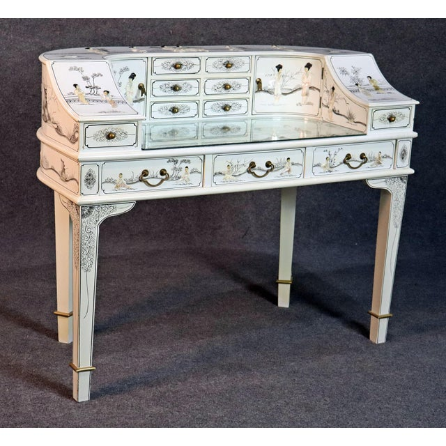 White Chinoiserie Carlton House Desk For Sale - Image 13 of 13