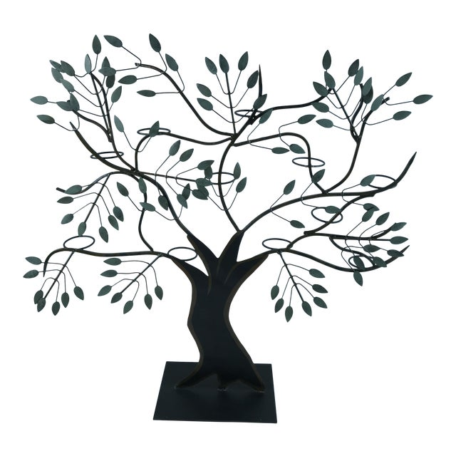 Modern Tole Painted Tree of Life Votive Candle Holder For Sale