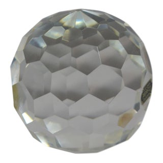 Large Faceted Hand Cut Crystal Ball Orb Paperweight For Sale