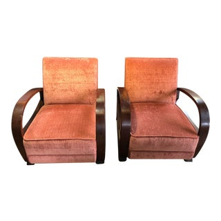 1990's Vintage Deco Style Walnut Frame Club Chairs- A Pair For Sale