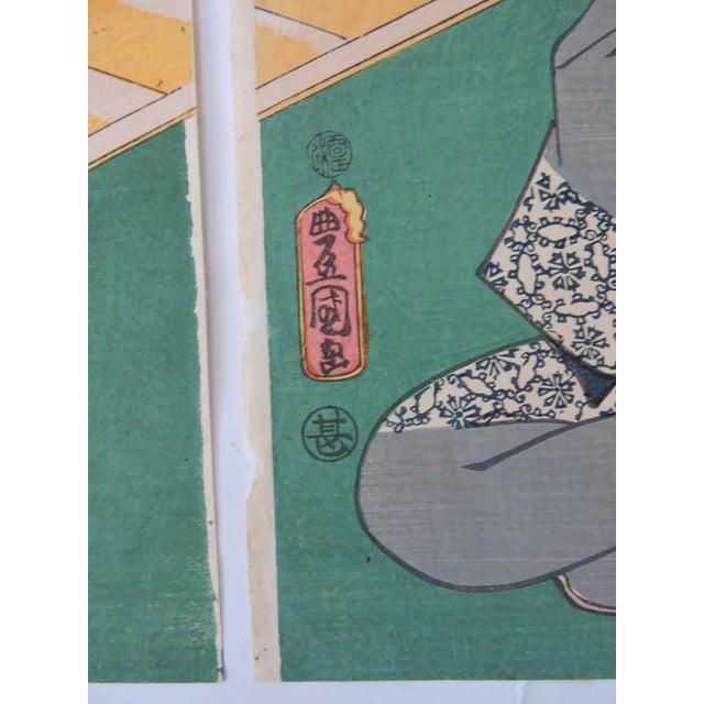 Black Antique Japanese Ukiyo-E Woodblock Triptych of Prince Genji by Utagawa Kunisada 1786-1865 For Sale - Image 8 of 11