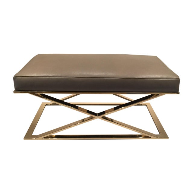 Milo Baughman X-Leg Leather Bench - Image 1 of 7