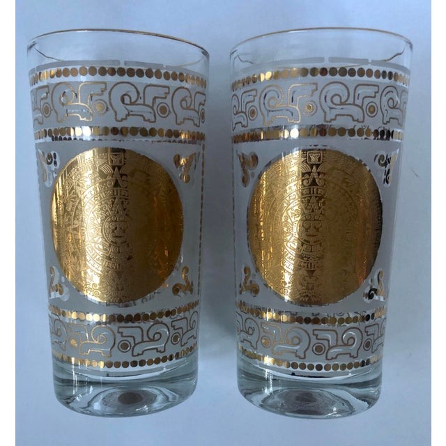 Metal Mid 20th Century Hazel Atlas Frosted and Gilt Aztec Highball Cocktail Glasses - a Pair For Sale - Image 7 of 12