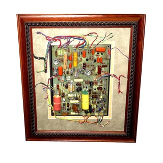 Mid Century Component Art Wall Sculpture by Bill Reiter. Wood Framed & Matted. For Sale