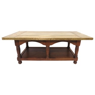 Signed Sarreid Brass Clad and Walnut Coffee Table For Sale