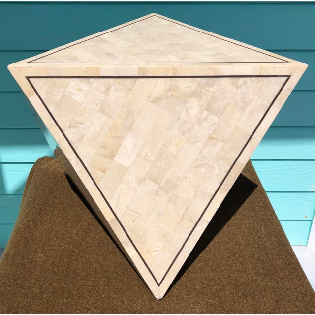 Maitland Smith handmade tessalated Stone side triangle table or pedestal.