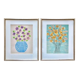 Original Floral Paintings-Custom Framed-Child's Room-A Pair For Sale