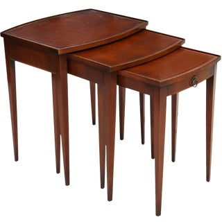 Leather Top Nesting Tables by Hekman S/3 For Sale