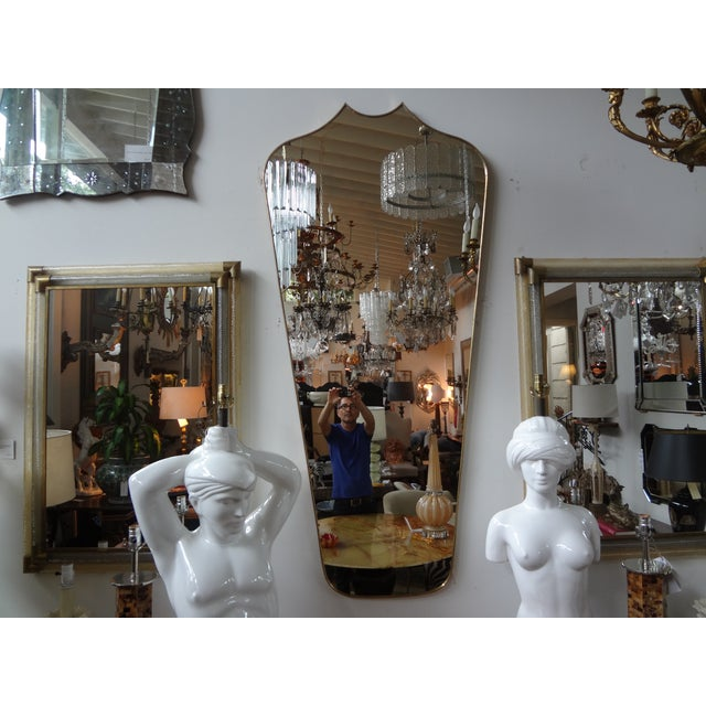 Italian Gio Ponti Inspired Brass Mirror - Image 2 of 7