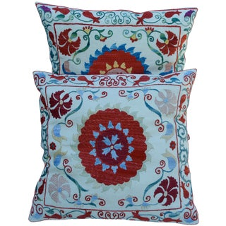 Vintage Silk Pillows- S/2 For Sale