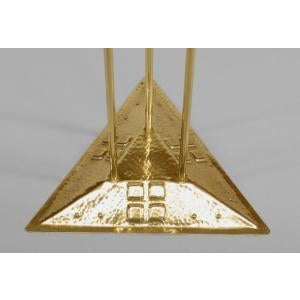 American Mission Arts & Crafts (20th Cent) brass smoking stand on triangular base For Sale - Image 4 of 5