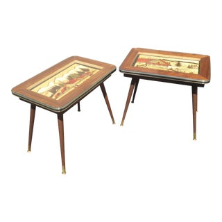 Vintage Mid-Century Modern Hand Carved & Painted End Tables - a Pair For Sale