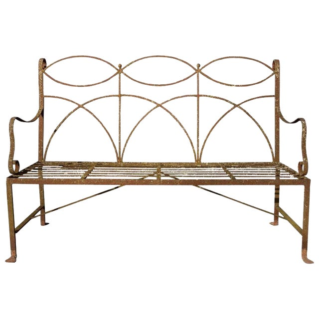 Early 20th Century Neoclassical Wrought Iron Garden Bench For Sale