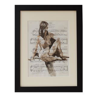 "Original Watercolor Painting on Vintage Music Sheet -"" Oh-No, John"" For Sale"