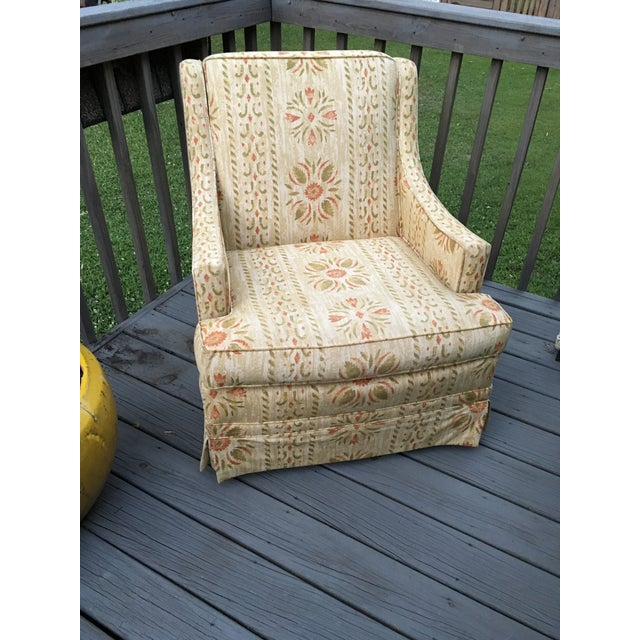 Vintage Clyde Pearson swivel chair, made by Lane Co. in Floral tribal pattern. Custom upholstered furniture built with...