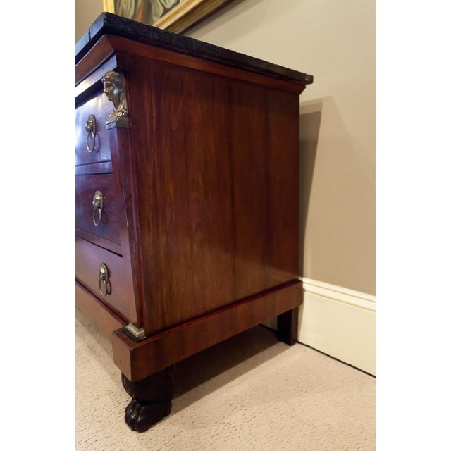 Brown Louis Philippe Empire Style Stone Top Three-Drawer Commode, France Circa 1840 For Sale - Image 8 of 13