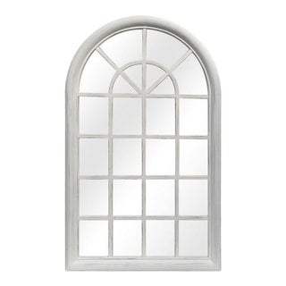 Distressed White Solid Wood Window Pane Mirror For Sale