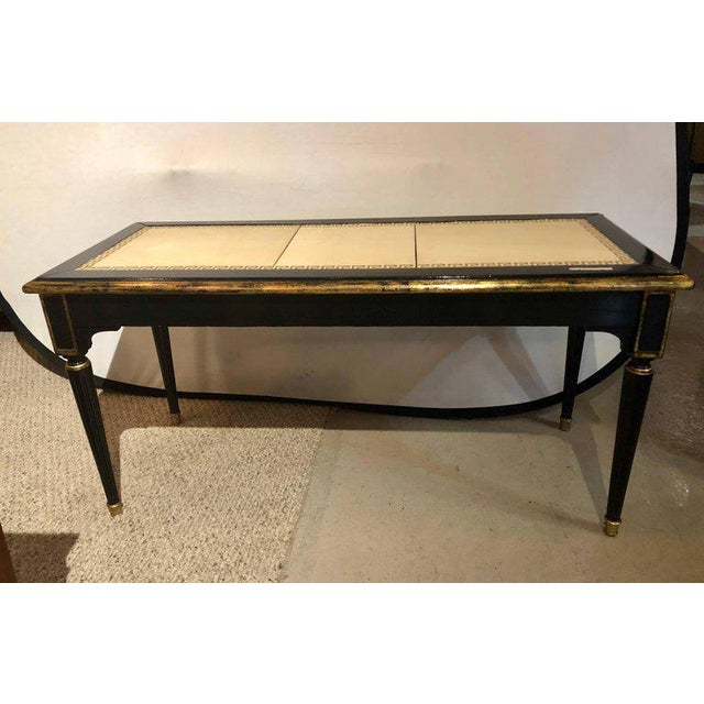 Ebonized Jansen Style Coffee Table With a Greek Key Design and Leather Top For Sale - Image 4 of 13