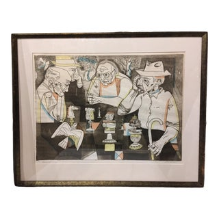Vintage Mid-Century Signed and Numbered Color Serigraph by Irving Amen For Sale