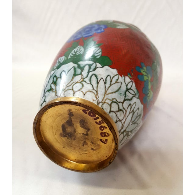 Vintage Chinese Floral Champleve Vase Enamel-Over-Brass For Sale In Los Angeles - Image 6 of 7