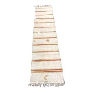 Vintage Turkish Natural Hemp Kilim Runner-2′7″ × 12′3″ For Sale