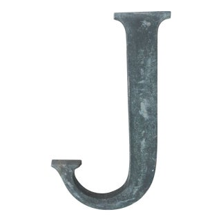 """19th Century French Cast Bronze Letter """"J"""" For Sale"""