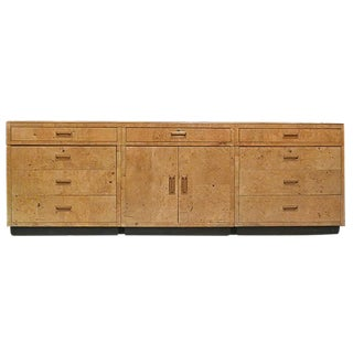 Mid 20th Century Modern Scene 2 by Henredon Burled Elm & Macassar Ebony Patchwork Credenza For Sale