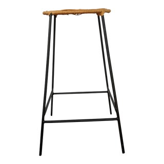 Mid-Century Modern Wicker and Iron High Stool