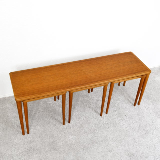 DUX Dux of Sweden 1960s Teak Coffee Table With Three Nesting Tables - 4 Pieces For Sale - Image 4 of 13