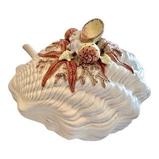1980s Vintage Fitz & Floyd Shell Decorated Tureen For Sale