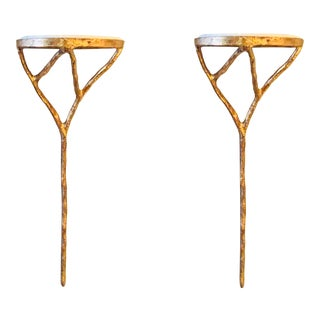 Modern Gold Gild and Ivory Marble Giacometti Style Wall Sconces Pair For Sale