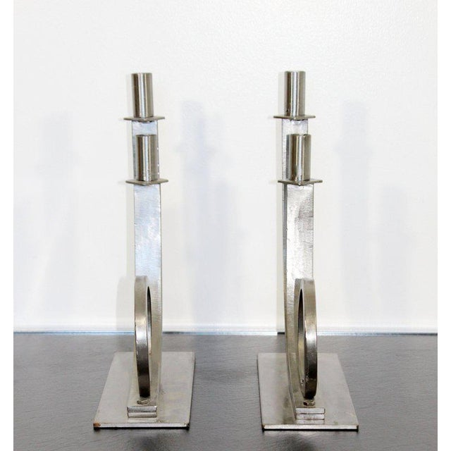 Mid-Century Modern Sculptural Aluminum Candleholders Studio Artist Haghiri - a Pair For Sale - Image 10 of 12