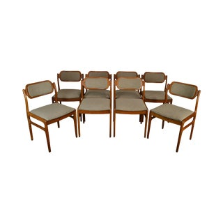 Danish Modern Set 8 Teak Dining Chairs For Sale