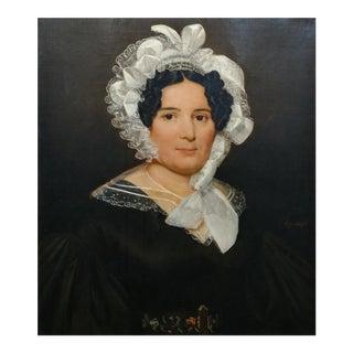 Portrait Lady Wearing Lace Bonnet-Beautiful Oil Painting on Canvas C1830s