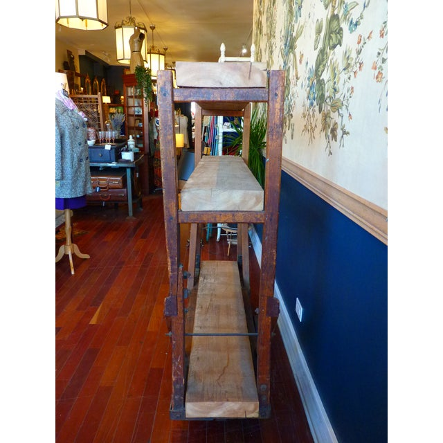 Vintage Industrial Trolly Cart as Open Shelving For Sale - Image 10 of 13