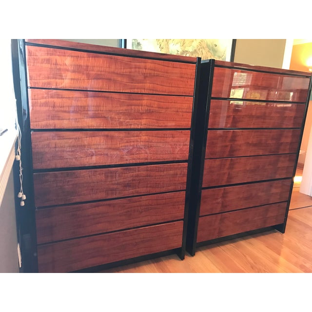 Henredon Black Lacquer & Koa Wood Dressers - A Pair For Sale - Image 11 of 11