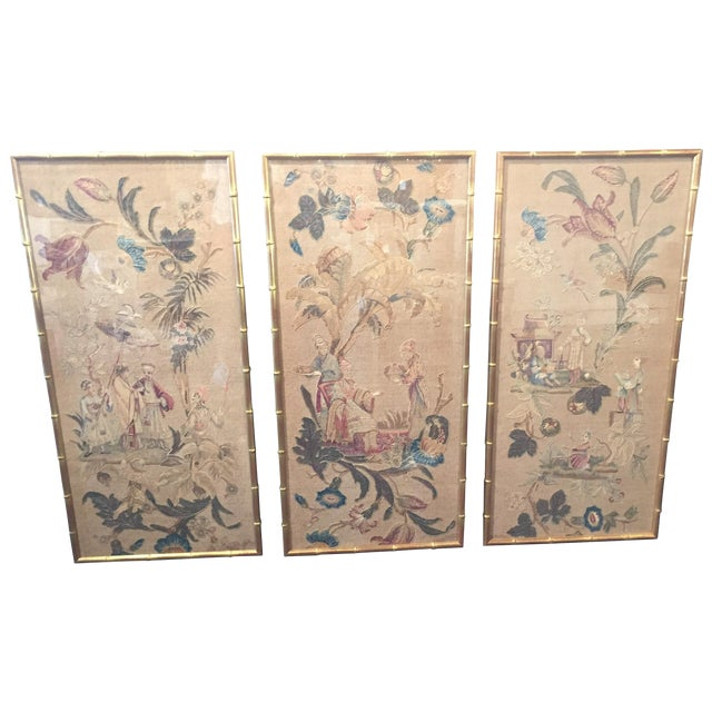 Set of 3 English Silk Embroideries in Gilt Frame For Sale