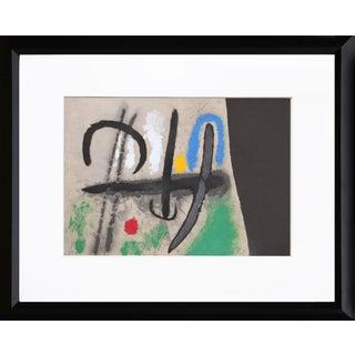 """""""Cartones 16: Oiseau Dans Un Paysage"""" Framed Lithograph by Joan Miro For Sale"""