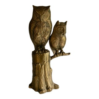 70s Large Brass Owl on Tree Sculpture For Sale