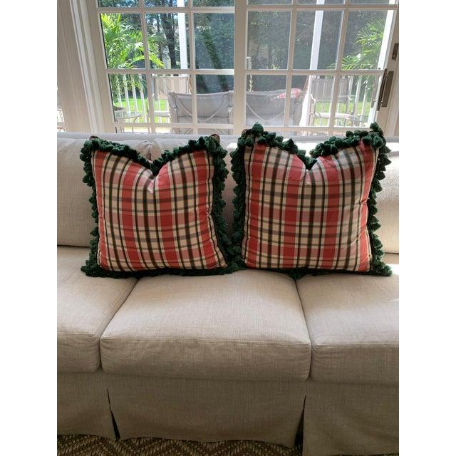 Vintage Accent Schumacher Silk Plaid Pillows With Cowtan & Tout Trim - A Pair For Sale - Image 12 of 12