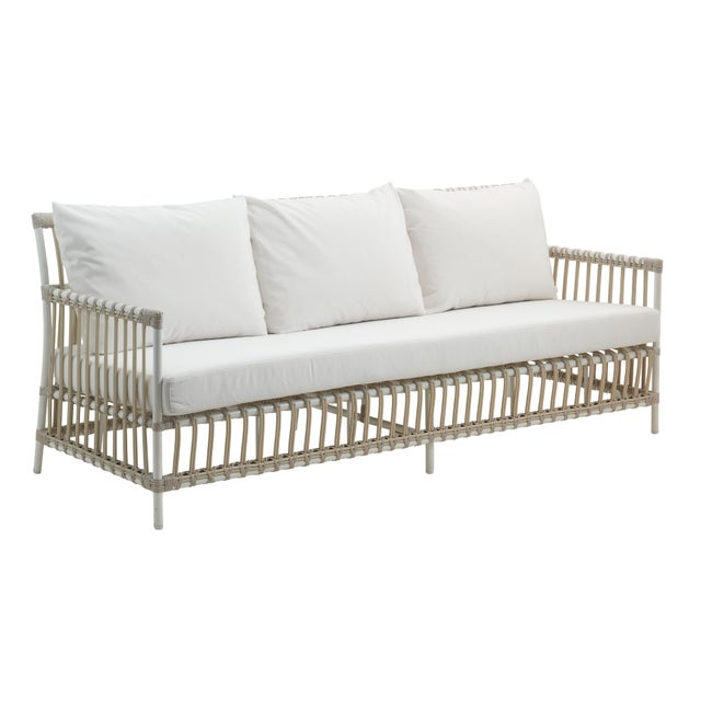 Caroline Exterior 3-Seater Sofa - Dove White - Tempotest White Canvas Seat and Back Cushions For Sale - Image 10 of 10
