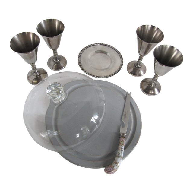 Silver-Plate Glasses/Coaster & Cheese Dome - 7 - Image 1 of 10