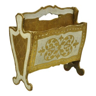 Italian Hollywood Regency Wooden Toleware Tole Florentine Magazine Rack Stand For Sale
