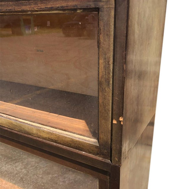 Antique Shiplap Shaw Walker 4 Stack Barrister Bookcase - Image 8 of 10